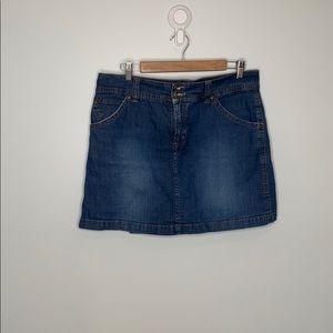 Jones&co blue denim short jean pleated skort sz 12